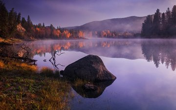 lake, sunrise, nature, forest, reflection, morning, fog, autumn, stone, canada, raul weisser, kamloops