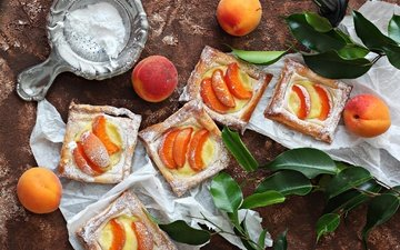apricot, pieces, cakes, powdered sugar, pie, apricots, cream