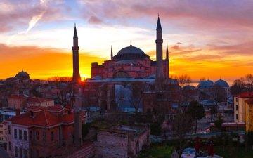 закат, турция, музей, стамбул, собор святой софии