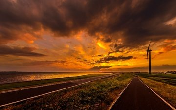 the sky, road, clouds, sunset, sea, windmill