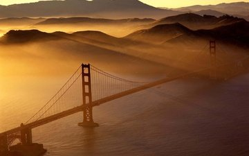 sunset, bridge, usa, golden gate, san francisco