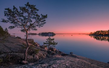 trees, stones, sunset, island, finland, gulf of finland