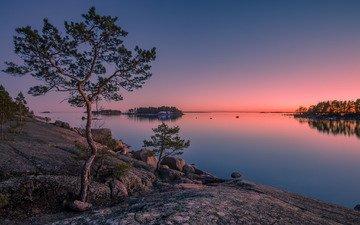 деревья, камни, закат, остров, финляндия, финский залив