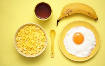 coffee, cup, breakfast, banana, spoon, egg, cereal, eggs