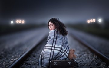 railroad, rails, girl, look, bear, toy, hair, face, suitcase