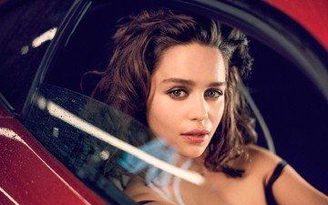 girl, brunette, look, hair, face, actress, car, emilia clarke