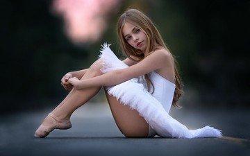 road, blonde, girl, sitting, feet, hair, white dress, photoshoot, ballet, ballerina, girl.ballerina, jade weber