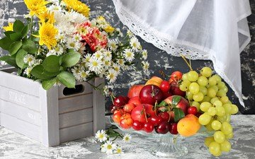 flowers, grapes, fruit, cherry, bouquet, apricot, berries, wildflowers, nectarine