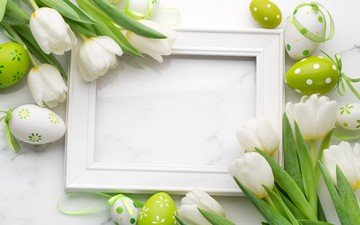 flowers, buds, petals, tulips, easter, eggs, frame