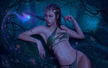 night, forest, girl, background, look, fantasy, fairy, elves, dwarves, elf