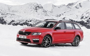 mountains, snow, skoda, combi, octavia, wagon