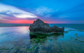 the sky, nature, stones, shore, sunset, sea, horizon, coast