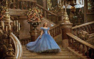 цветы, лестница, платье, зал, золушка, лили джеймс