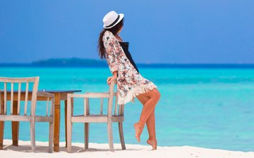 the sky, girl, sea, pose, sand, beach, model, legs, hat