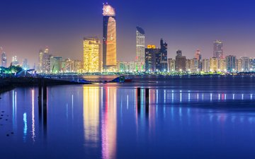 night, reflection, the city, home, building, dubai, uae