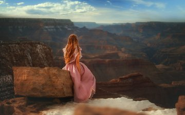 the sky, girl, morning, canyon, model, stone, redhead, pink dress, tj drysdale, the grand canyon
