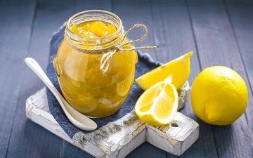 фрукты, лимон, джем, сладкое, банка, цитрусы