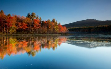the sky, trees, lake, mountains, nature, reflection, autumn