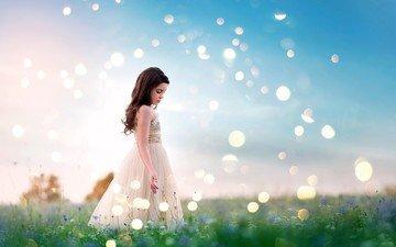 природа, платье, лето, дети, блики, девочка, профиль, ребенок, полевые цветы