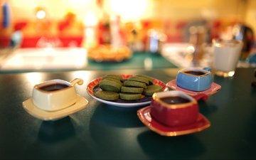 кафе, кофе, чашки, печенье, эспрессо