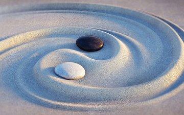 камни, песок, дзен, инь-янь