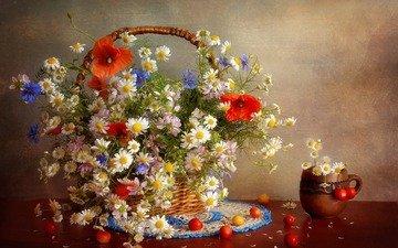 flowers, maki, cherry, chamomile, bouquet, berries, napkin, cornflowers, basket, still life