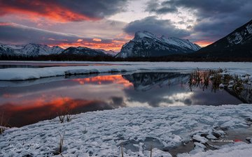 the sky, clouds, lake, mountains, snow, sunset, winter, ice, canada, albert, banff, sherwin calaluan