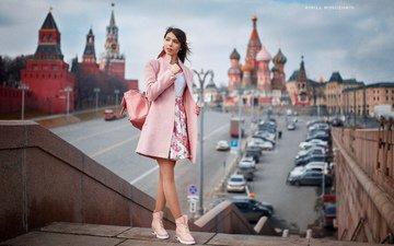 девушка, москва, взгляд, волосы, лицо, рюкзак, красная площадь