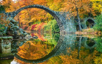 lake, reflection, landscape, bridge, autumn, germany, saxony, rakott, rocketspace, devil's bridge, stone bridge, bridge rocketspace, coburg