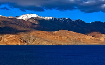 the sky, lake, mountains, india, ladakh, tso moriri, jammu and kashmir