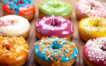 разноцветные, сладкое, пончики, выпечка, десерт, глазурь, посыпка