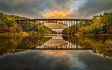 the sky, clouds, trees, river, nature, reflection, bridge, autumn