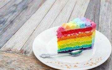 радуга, разноцветный, тарелка, торт, ложка, кусок, слои