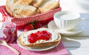 sandwich, jam, cheese, bread, breakfast, milk, toast
