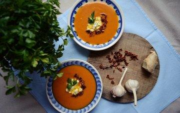pumpkin, garlic, parsley, soup, pumpkin soup