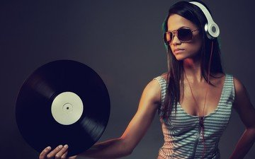 girl, music, glasses, headphones, model, dj, vinyl