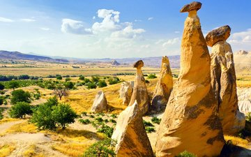 the sky, clouds, rocks, stones, landscape, horizon, turkey, cappadocia