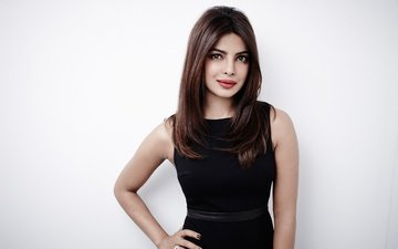 eyes, girl, pose, smile, model, lips, face, actress, makeup, black dress, celebrity, bollywood, indian, priyanka chopra