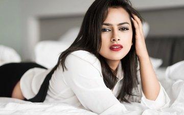 глаза, девушка, брюнетка, модель, лицо, актриса, макияж, болливуд, shraddha srinath, шраддха шринат
