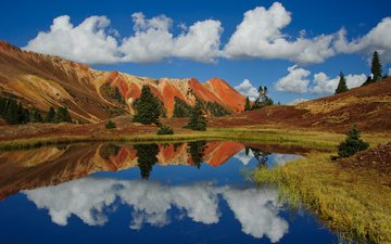 the sky, clouds, lake, mountains, reflection, colorado