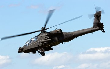 the sky, clouds, helicopter, apache