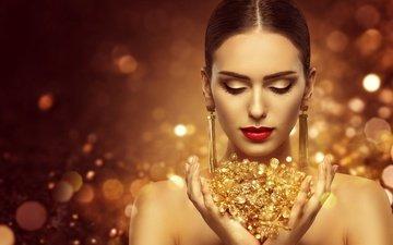 стиль, девушка, портрет, взгляд, модель, губы, лицо, макияж, прическа, золото, роскошь, ювелирные изделия
