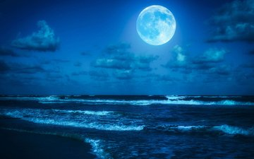the sky, clouds, shore, landscape, sea, horizon, the moon