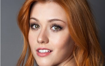 girl, portrait, look, red, lips, actress, katherine mcnamara