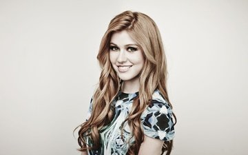girl, smile, look, red, model, face, actress, katherine mcnamara, maarten boer