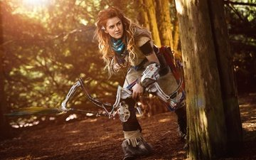 girl, weapons, red, bow, the game, arrow, hunter, cosplay