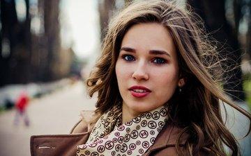girl, mood, portrait, the city, look, street, model, the wind