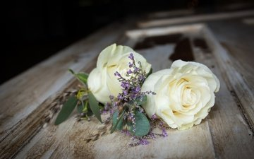 flowers, buds, roses, petals, bouquet, wooden surface