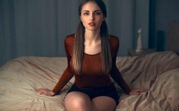 девушка, взгляд, модель, лицо, длинные волосы, сидя, в постели