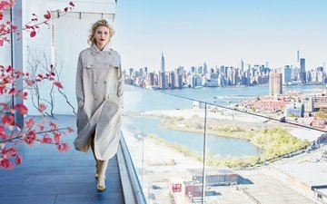 girl, the city, look, cloak, hair, face, actress, balcony, claire danes